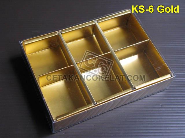 Casing Kotak 6 Gold KS-6 kemasan mika coklat cokelat sekat