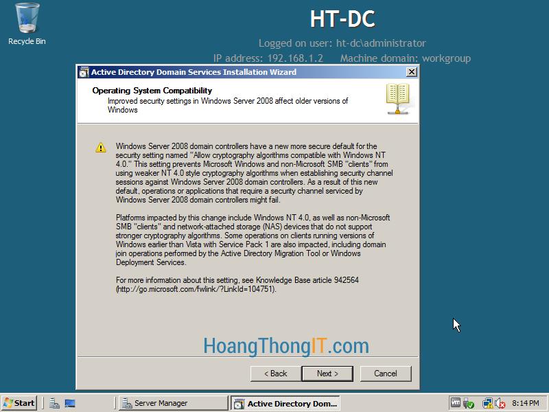 Nâng cấp lên Domain controller
