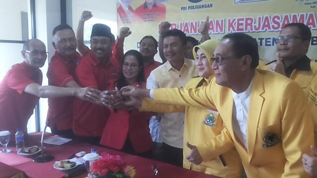 Pilbup Jombang 2018, Partai Golkar dan PDI Perjuangan Berkoalisi Usung Petahana