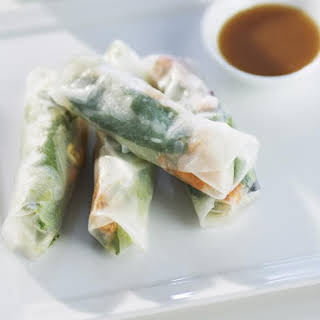 Salmon Summer Rolls with Miso Dressing.