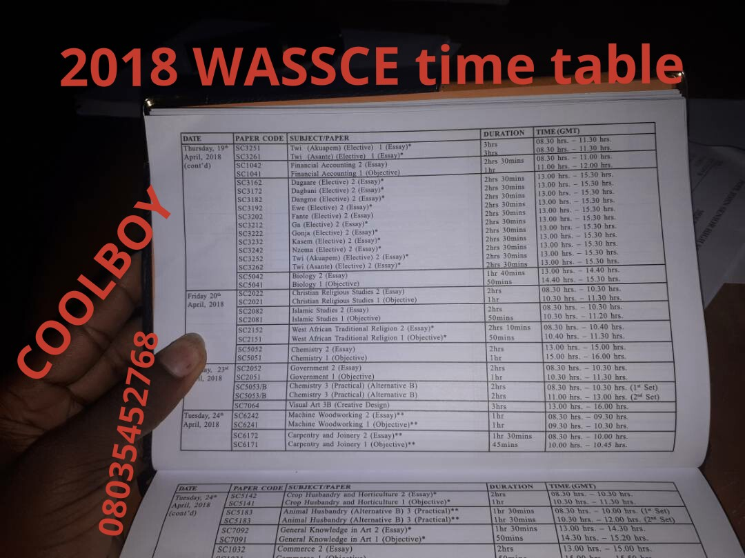 government wassce time table by coolboy blastexams 2018 19 government wassce time table by coolboy