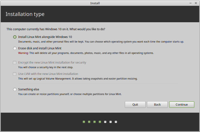 23 your Linux Mint installation choices