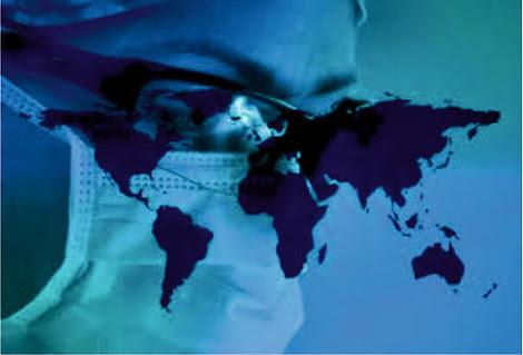 Mapa dos continentes sobreposto ao rosto com máscara