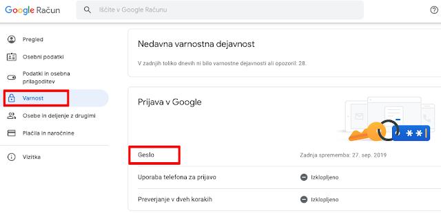 kako zamenjam geslo na mailu