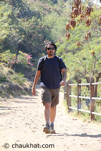 Bhavesh walking at Shivneri