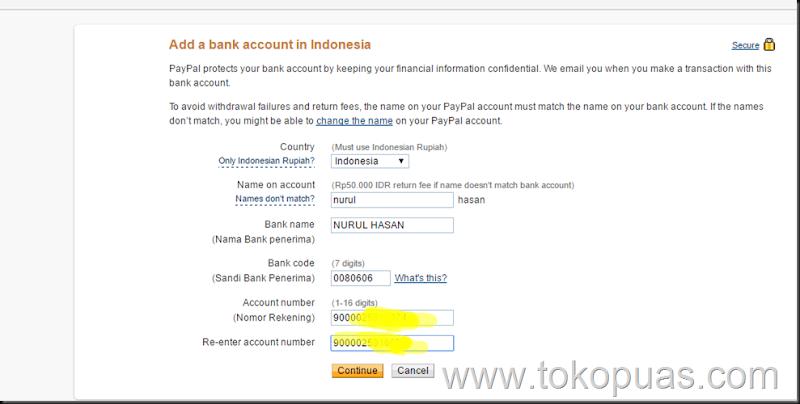 cara menambhkan rekening bank ke paypal