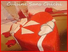 Gâteau Saint-Valentin, coeur à la ganache montée au citron vert