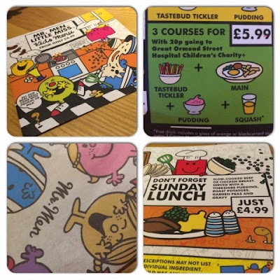 Mr Men and little miss menu at Beefeater Grill
