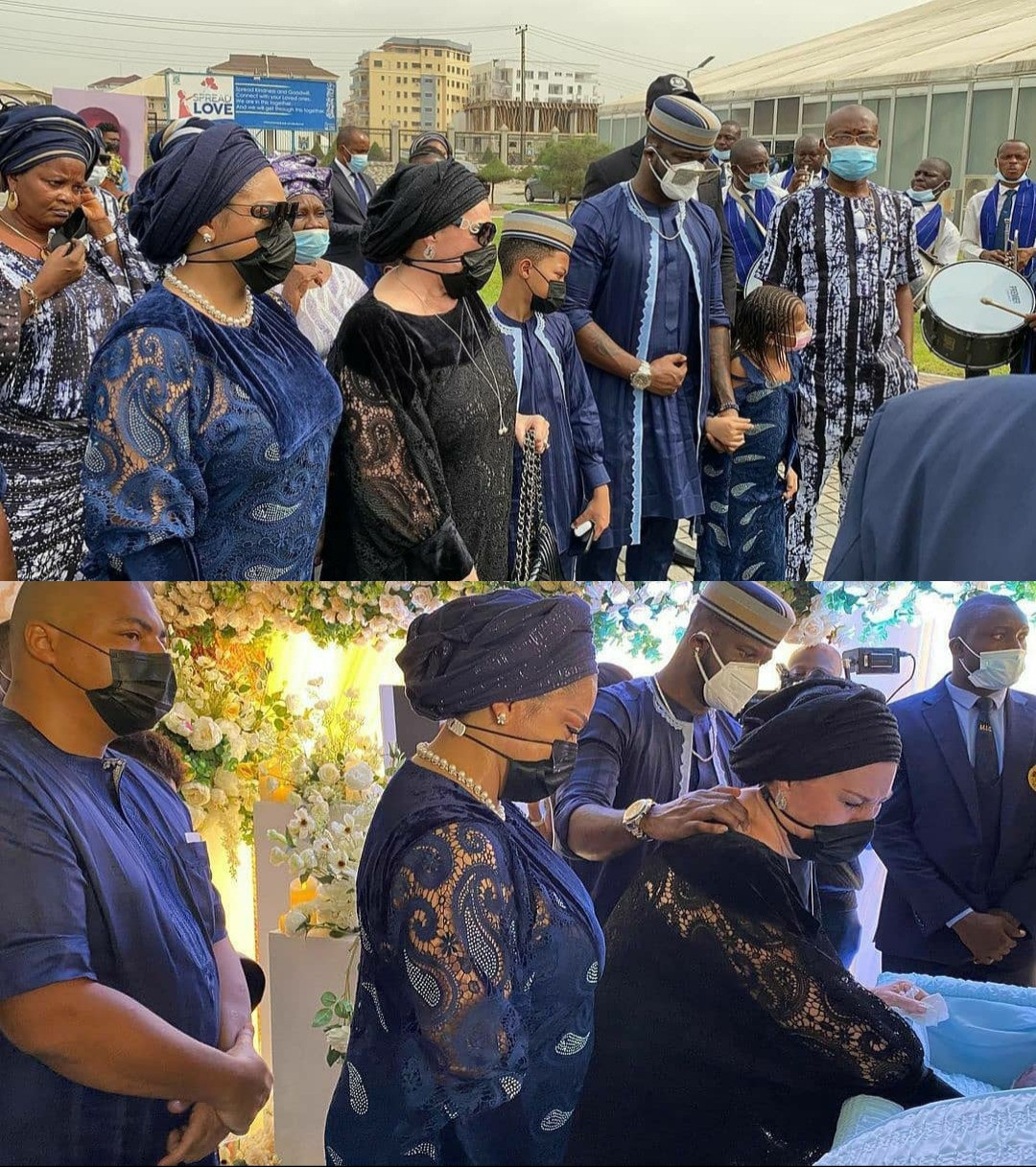 Tears flow as Peter Okoye's father-in-law is laid to rest (photos/video)