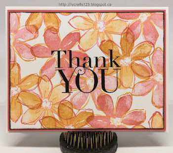 Linda Vich Creates: Garden in Bloom Thank You. Peekaboo Peach and Flirty Flamingo flowers commingle on this two-step stamping card.