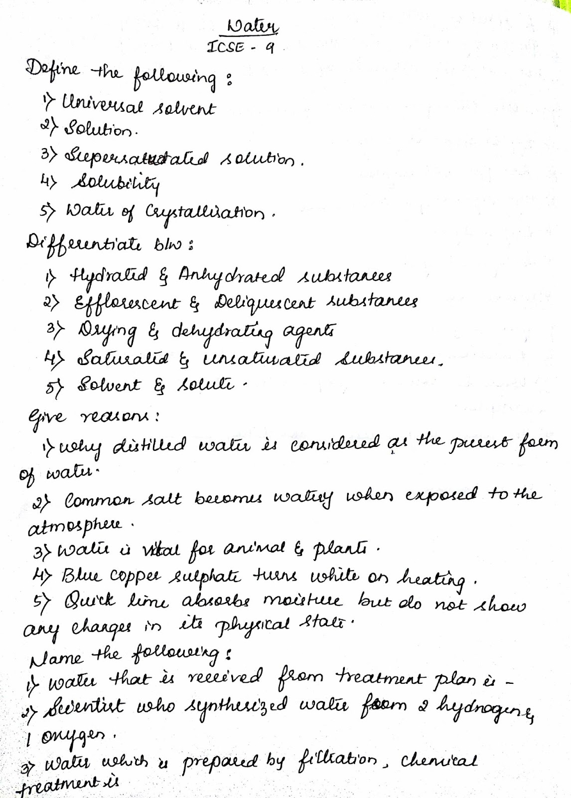 Icse Grade 9 Water Worksheet 001