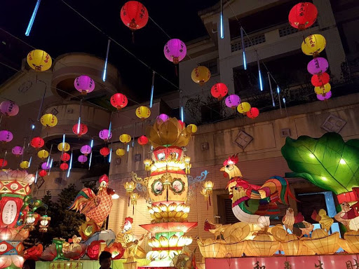 Pretty lanterns decoration at Raohe Night Market in Taipei