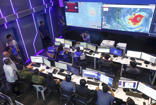 A government briefing on typhoon Mangkhut at the National Disaster Risk Reduction and Management Council (NDRRMC) in Quezon City, east of Manila, Philippines on 13 September 2018. Photo: Rolex Dela Pena / EPA