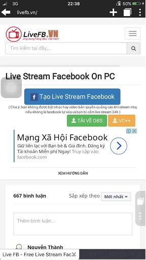live stream màn hình điện thoại lên facebook