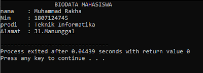 Program Biodata Menggunakan Bahasa Pemrograman C