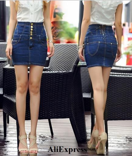 Minifalda en denim con pretina alta y botones metálizados