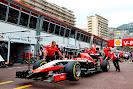 Mechanic wheel the car of Jules Bianchi, Marussia MR03 Ferrari