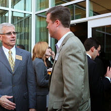 Dean Steve Salbu talks with benefactor Brent Zelnak about the importance of attracting top quality students to Scheller.
