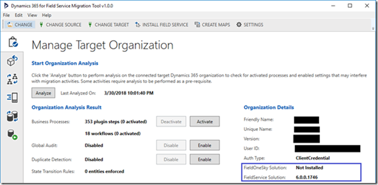 Microsoft Dynamics365 for Field Service Migration Tool for