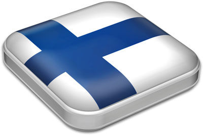 Flag of Finland with metallic square frame