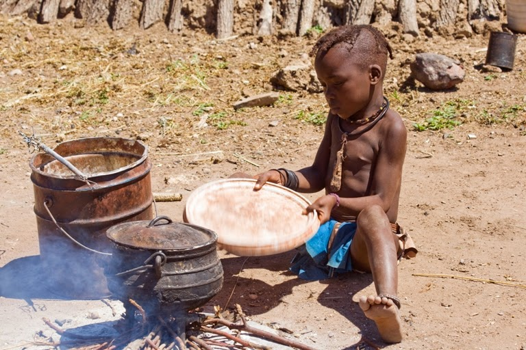 Namibia Himba Child Cooking
