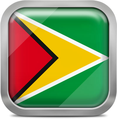 Guyana square flag with metallic frame