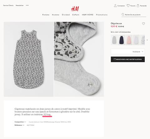 H&Mフランスのページにはtog値の記載がある