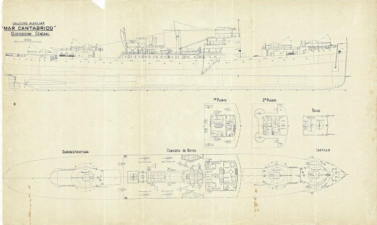 Planos del crucero auxiliar MAR CANTABRICO. Revista Ingenieria Naval. Año 1948.jpg