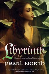 Cover of Libyrinth shows a young woman standing with her eyes closed as loose pages fall around her