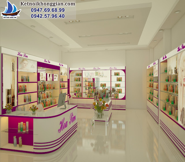 thiết kế shop mỹ phẩm Hoa Lim