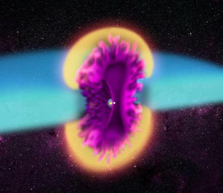 ilustração do modelo tridimensional da explosão de V745 Sco