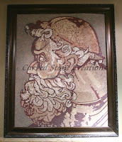 "45"" x 38"" Framed marble mosaic of Zeus."