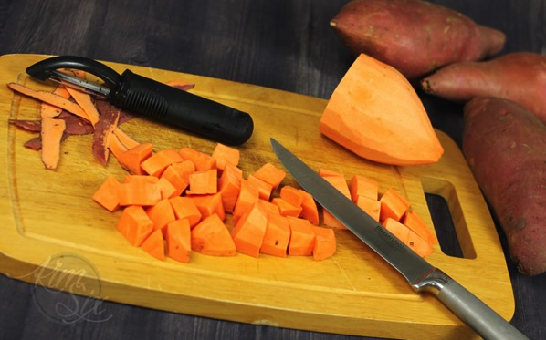Peeling and Chopping Sweet Potatoes