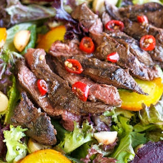 """Aussie Salad"" with Grilled Kangaroo, Roasted Beetroot & Macadamia Nuts."