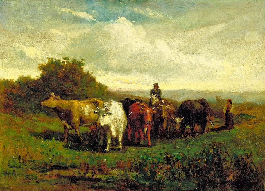 Edward Mitchell Bannister - Untitled (man on horseback, woman on foot driving cattle)