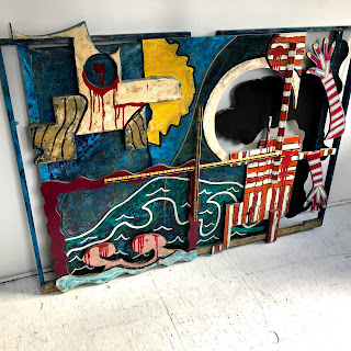 Glen Whitaker Signed Large Sculptural Painting