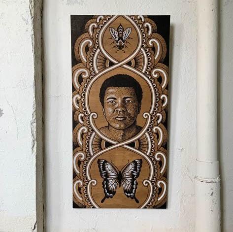 Karl Otto: Muhammad Ali wood and marker piece
