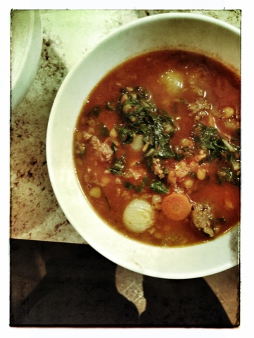 Lentil Soup with Sausage, Chard, and Garlic | fibre and spice