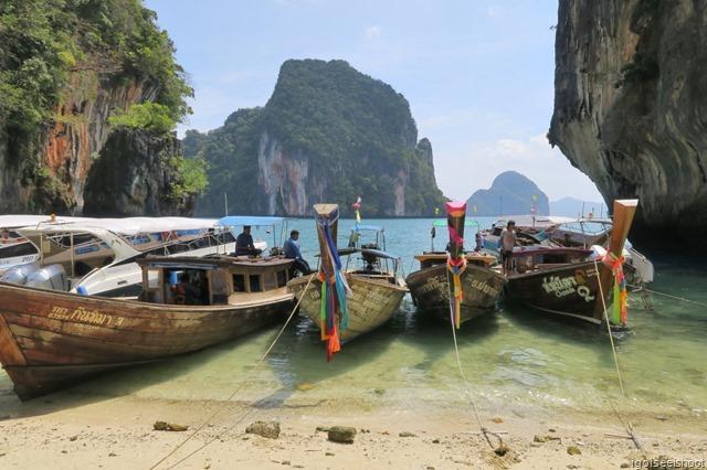 Long-tail boats at Koh La Ding or La Ding Island.