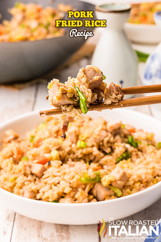 pork fried rice in a bowl