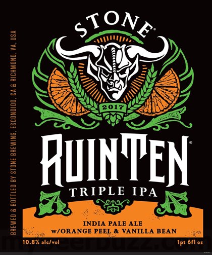 「Stone /  RuinTen Triple IPA w/Orange Peel & Vanilla Bean  」の画像検索結果