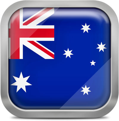 Australia square flag with metallic frame