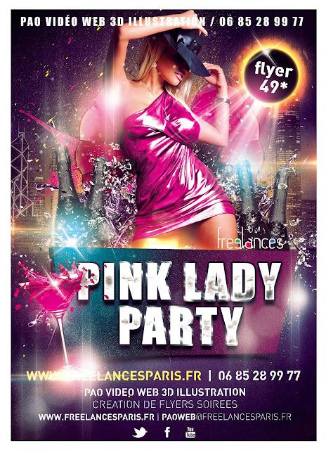 création flyers soirées thème Pink Lady party
