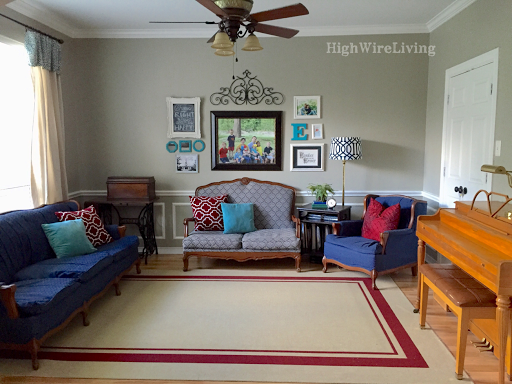 navy vintage sofa living room