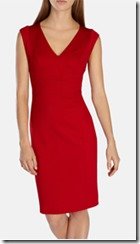 Red fitted pencil dress in stretch
