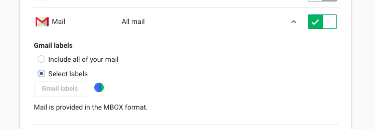 No Longer Able to Select Gmail Labels when Using Google Takeout