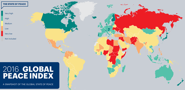 The 2016 Global Peace Index. The GPI is produced by the institute of Economics and Peace (IEP). Graphic: IEP