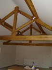 King post trusses and purlins in Green Oak