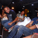 the party crew causing mayhem in the limo in Vancouver, British Columbia, Canada