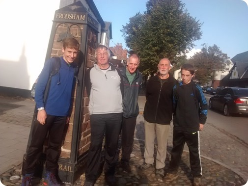 l-r George %13 Ben %13 Tony %13 Eric %13 Ryan reach the  end of the Sandstone Trail at Frodsham